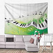 HouseLook Music Decor Wall Decor Tapestries Music Piano Keys Curvy Fingerboard Summertime Entertainment Flourish Tapestry Wall Hanging for Room 90.5