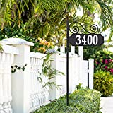 Whitehall Products 14339 Nite Bright Scroll Reflective Post Sign Address Plaque, Black/White