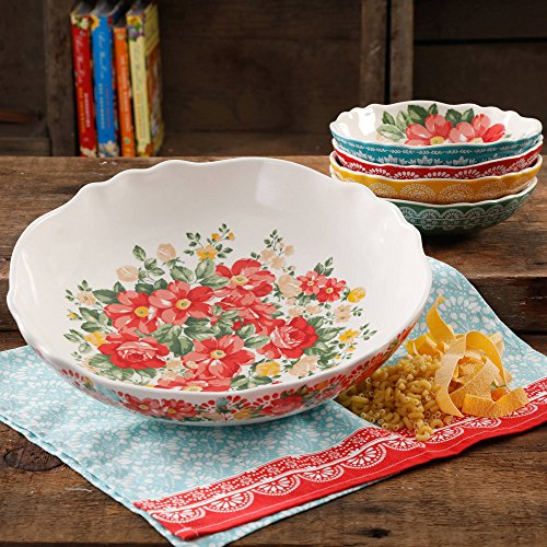 The Pioneer Woman 13' Vintage Durable Round White Floral Pasta Stoneware Bowl Set (5 Piece)