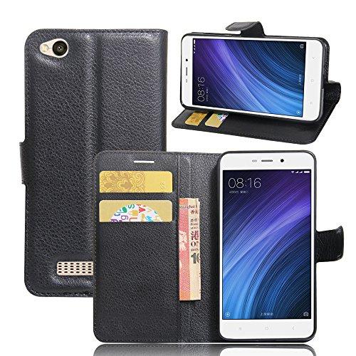 Kihying Cuero Funda para Xiaomi Redmi 4A Funda Cáscara Tapa del tirón Billetera Soporte y Ranura para Tarjeta (Negro - JFC02)