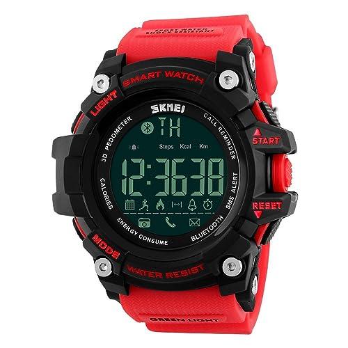 8f046554e Mens Smart Digital Watch 5ATM Waterproof Sport WristWatch Call SMS  Notification Pedometer LED smartwatch