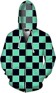 Anime Demon Slayer Cosplay Zipper Hoodies, Unisex 3D Digital Printed Sweatshirt Costume Coat.