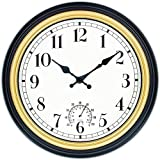 45Min 12 Inch Indoor/Outdoor Retro Round Waterproof Wall Clock with Thermometer, Silent Non Ticking Battery Operated Quality Quartz Wall Clock Home/Patio Decor
