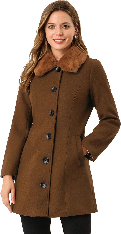 Allegra K Women's Winter Coat Faux Fur Collar Warm Long Coat