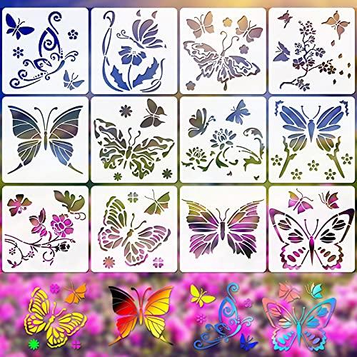 VETPW 12 Stück Schmetterlings Blume Stencil Schablonen Zeichnen, Kunststoff Wiederzuverwendend Zeichenschablonen Vorlagen Schablonen für Fenster, Fußböden, Holz, Möbel, Wanddeko, 16x16CM