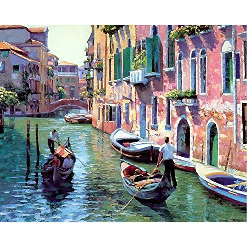 Tonzom Paint by Numbers Kit 16x20 inches DIY Oil Painting with Acrylic Pigment Unique Gift for Best Friends - Italy Venice (Without Frame)