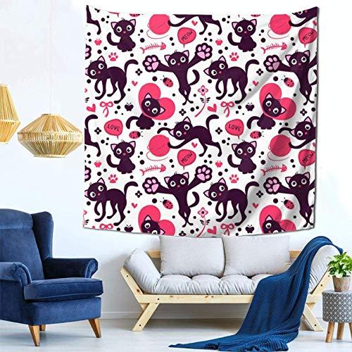 Lsjuee Simpatici gattini giocosi arazzo appeso a parete decorazioni per la casa Fan Art per Camera da letto soggiorno Dormitorio