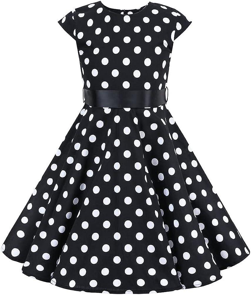 Girls Cap Sleeve Vintage Floral trend Max 82% OFF rank Print Swing 50's Dress Polka Dot