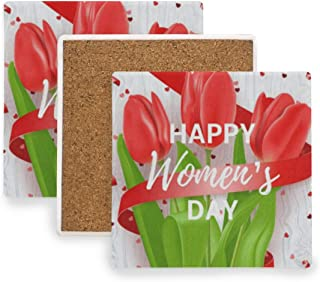 Happy Womens Day March 8 Flowers (2) Coasters, Protection for Granite, Glass, Soapstone, Sandstone, Marble, Stone Table - Perfect Cork Coasters,Square Cup Mat Pad for Home, Kitchen or Bar 1 Piece