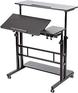 BarleyHome Mobile Stand Up Desk, Adjustable Laptop Desk with Wheels Storage Desk Home Office Workstation, Rolling Table Laptop Cart for Standing or Sitting, Black