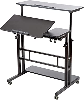 SIDUCAL Mobile Stand Up Desk, Adjustable Laptop Desk with Wheels Storage Desk Home Office Workstation, Rolling Table Laptop C