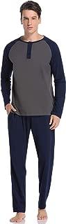 Aibrou Men's 100% Cotton Long Sleeve Pajamas Pjs Sleepwear Lounge Set Raglan Shirt and Pants