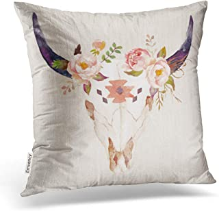 Accrocn Vintage Colorful Vivid Bull Head Skull Flowers Watercolor Illustration Polyester 16 x 16 Inch Square Throw Pillow Covers with Hidden Zipper Home Sofa Cushion Decorative Pillowcases