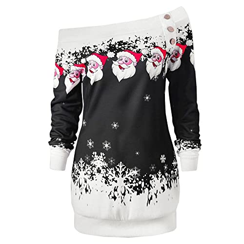fbb407b7cd53 Womens Sweatshirts Long Sleeve Merry Christmas Santa Claus Print Skew  Collar Short Winter Jumper Knitted Pullover