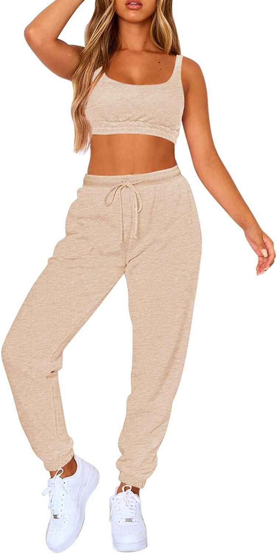 Fixmatti Women Sweatsuits Bra and Sweatpants Set 2 Pieces Jogger Tracksuit