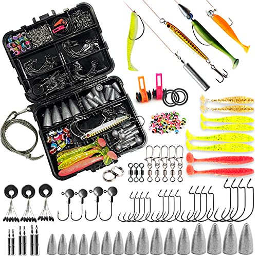 Fishing Accessories kit 213PCS Including Jig Hooks Bullet Bass Casting Sinker Weights Paddle Tail Metal Spoon Lures Swivels Snaps Space Beans Fishing Set with Tackle Box...