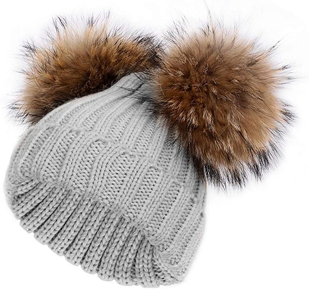 Kids Children Knitted Beanie Hat Hats Cap Winter Worm Girls Boys 2 Pom Pom