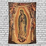 Donnapink Wall Tapestry Holly Mary Blessed Virgin Mary Our Lady of Guadalupe Mother of God 40'X60' Wall Hanging Bedspread for Home Livingroom Dorm