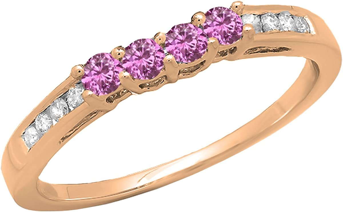 Dazzlingrock Collection 14K Gemstone & Diamond Ladies Anniversary Wedding Band Ring, Rose Gold