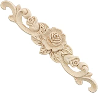 Enerhu 1 Piece Rubber Wood Carved Applique Onlay Unpainted Flower Buds Home Furniture Decoration L(15.75by3.94inch)