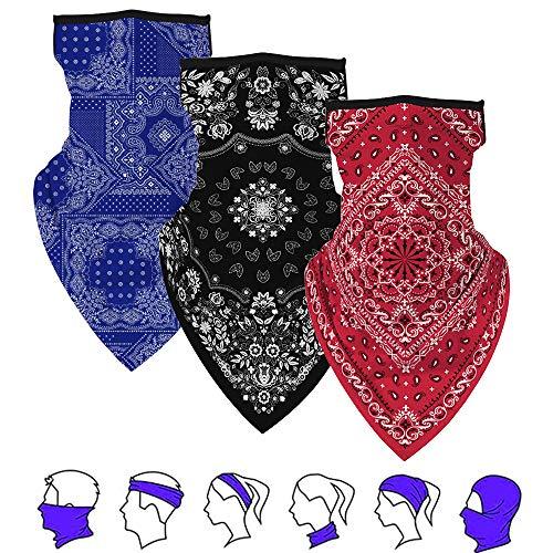 Lzfitpot Bandana Herren, 3pcs Bandana Damen Kopftuch Face Shield Face Cover Mask, Mundschutz Halstuch Schlauchschal, UV- / Staubschutz für Outdoor Fahhrad Motorrad Wandern