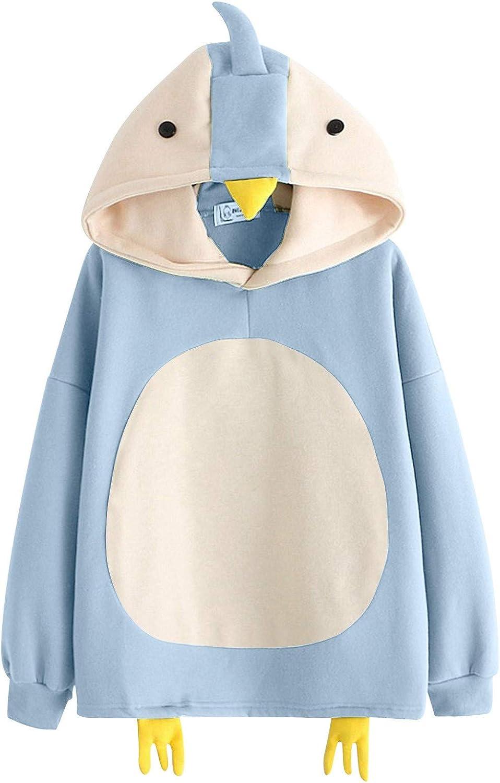 Qunkii Teen Girls Hoodies Tops Lovely Chick Printed Splice Long Sleeve Drawstring Pullover Sweatshirts (S-XXL)