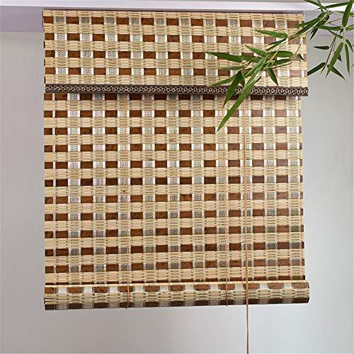 Yao Persianas Enrollables de Bambú, Cortina Exterior de Bambú Carbonizado Persianas Enrollables de Invernadero, Protección Solar UV, Pabellón del Patio Pergola Veranda Toldos de Jardín