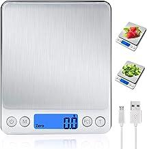 Báscula Digital para Cocina con Carga USB,Balanza de Alimentos Multifuncional Alta Precisión(3 kg-0.1g/0.01oz)Peso de cocina Electrónica con LCD Retroiluminación, Plata