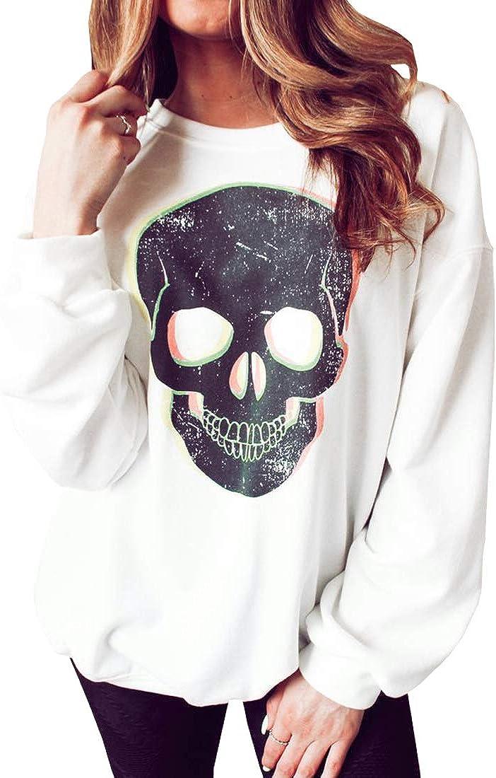 NEXLOMOS Women's Skull Print Lips Long Sleeve Girls Junior White Crewneck Sweatshirt