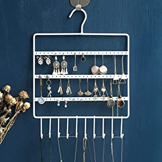 Lemonadeus Jewelry Hooks Storage Hanging Organizer,Earring Holder Necklace Jewelry Display Stand (Space Saver) Hanging Jewelry, Rings, Necklaces, Bracelets (10 hooks/64hooks) (White(72holes10hooks))