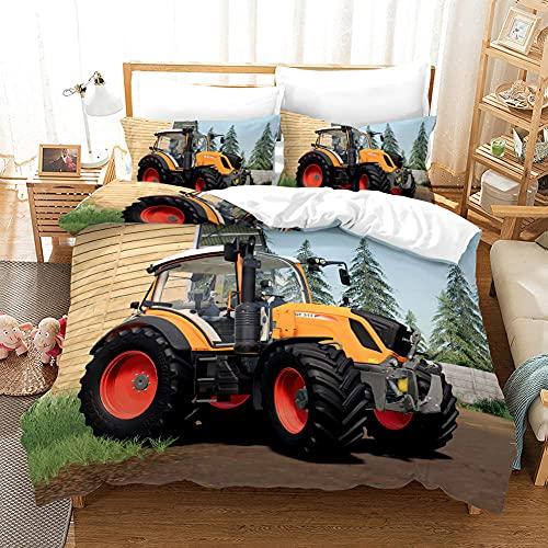 Funda Nordica Cama 90 Infantil Juveniles - Tractor - Juego de Cama Estampado - 1 Funda nórdica 150x200 cm con 2 Fundas de Almohada 50x75 / 40x70 cm