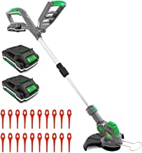 Gracious Gardens 18V Cordless Strimmer with 2 Batteries & 30 Spare Blades, Telescopic Lightweight Powerful Grass Trimmer, ...