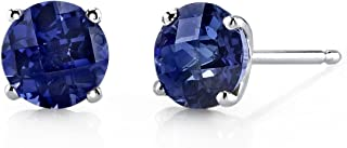 14 Karat White Gold Round Cut 2.25 Carats Created Blue Sapphire Stud Earrings