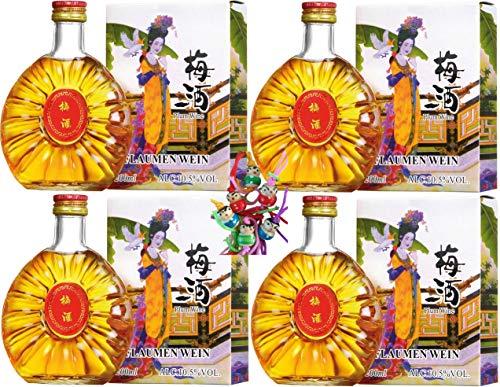 yoaxia ® 4er Pack - [ 4x 200ml ] China Plum Pflaumenwein aromatisiert alc.10,5% vol #12 + ein kleines Glückspüppchen - Holzpüppchen