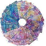 50 Stück Organza Säckchen Klein,Korallen Muster Organzasäckchen,Geeignet für Hochzeitsfeier Geschenksammlung Tasche Weihnachtsgeschenktüte, Baby Taufe