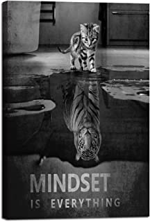 """Inspiration Wall Art Posters Small Cat Pictures Big Tiger Canvas Painting Mindset is Everything Print Poster Artwork Wooden Home Decor for Living Room Bedroom Office Framed Ready to Hang (24""""Wx36""""H)"""