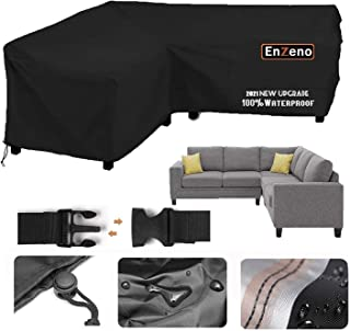 Enzeno Housse de protection pour meubles de jardin en forme de L, imperméable, coupe-vent, bâche pour canapé d'angle, meub...