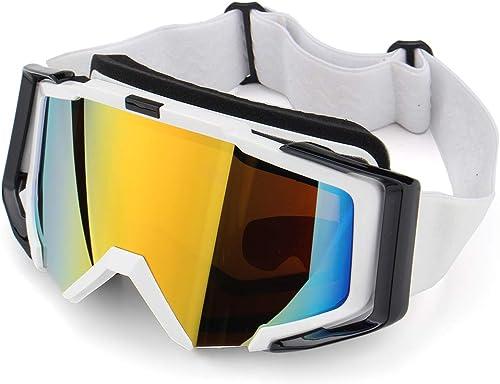 TENGGO de plein air Ski Patinage Lunettes De Motoneige Lunettes Windproof Anti-Buée UV Prougeection pour Hommes Femmes Snow Sport Lunettes-Blanc
