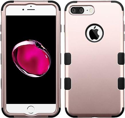 Funda Case para iPhone 7 Plus Doble Protector de Uso Rudo Funda Anti Impactos Resistente a Caídas (Rose Gold con Negro)