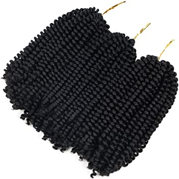3 Pack Spring Twist Ombre Colors Crochet Braids Synthetic Braiding Hair Extensions Low Temperature Fiber (1B)