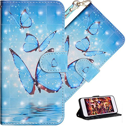 HMTECH For Sony Xperia XA3 Coque 3D Luxu Blau Papillon Slim Housse Étui PU Cuir Housse Coquille Couverture Magnétique Fonction Stand Compatible with Sony Xperia XA3,Blue Butterfly