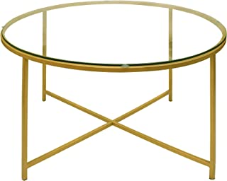 The Urban Port Tup 184805 Round Metal Coffee Table with Glass Top and X Shape Base, Gold and Clear