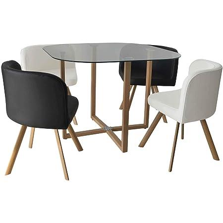 DecoInParis Ensemble Table + 4 chaises encastrables FLEN (Noir et Blanc)