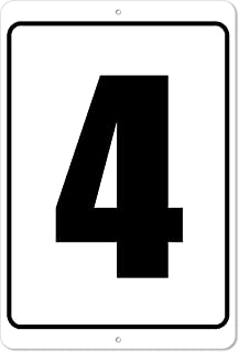 The King Kush Numbered Sign 4 Verticle Number 4-8 x 12 Aluminum Outdoor/Indoor Sign/Area Marker (4)