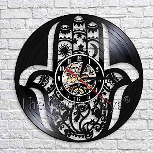 CVG Hamsa Hand of Fatima 3D Reloj de Pared Reloj de Vinilo Vintage Obra Creativa Hecha a Mano Relojes Colgantes