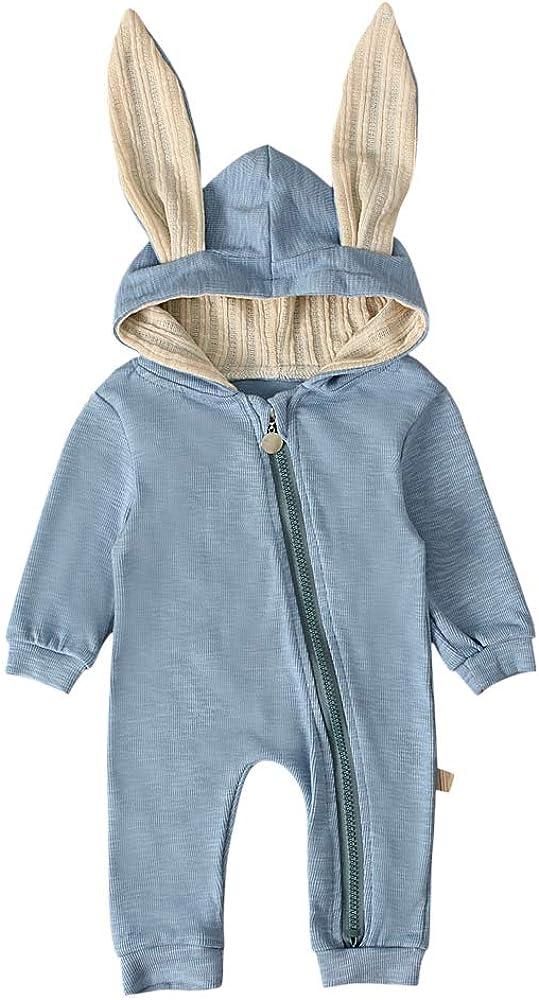 T TALENTBABY Neugeborenes Baby Jungen M/ädchen Kaninchen 3D Ohr Mit Kapuze Rei/ßverschluss Strampler Herbst Winter Unisex Baby Warme Body Overall Outfits Kleidung
