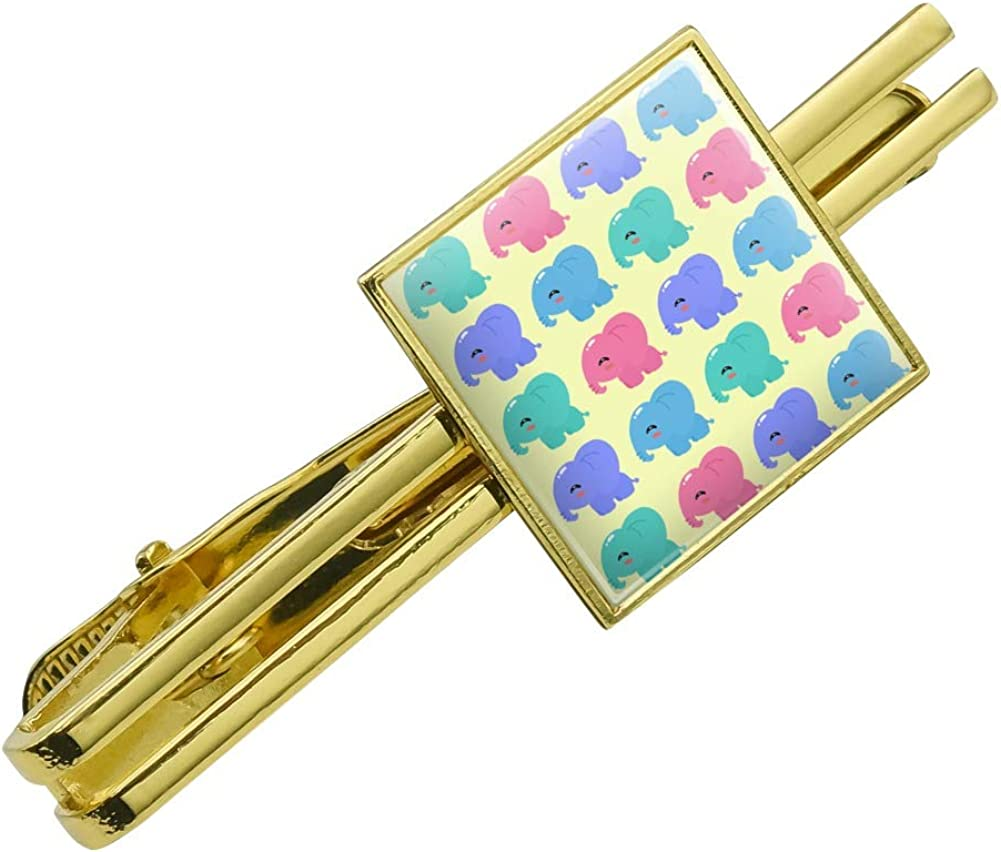 GRAPHICS & MORE Cute Kawaii Baby Elephants Pattern Square Tie Bar Clip Clasp Tack Gold Color