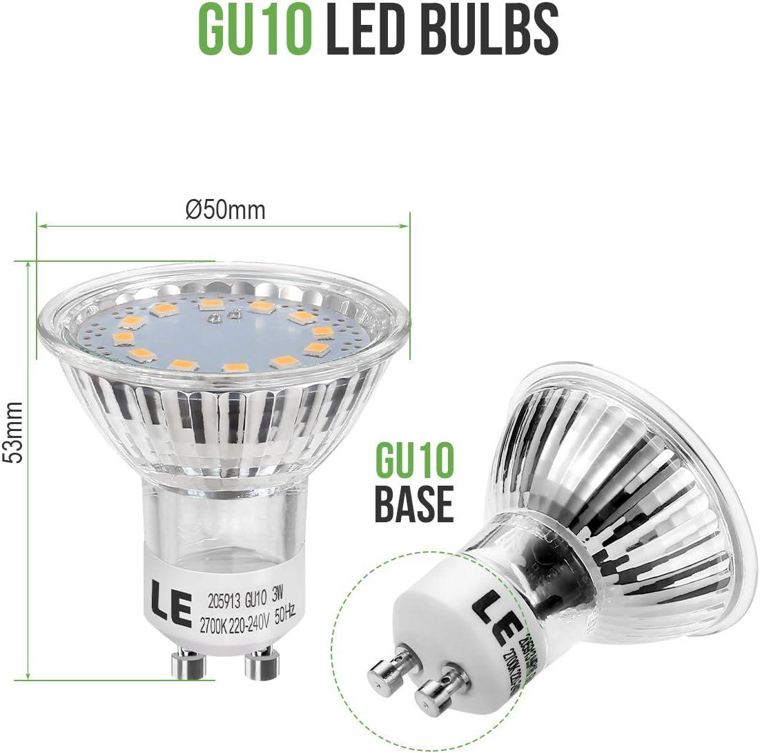 120 Grad Abstrahlwinkel LE GU10 LED Lampe 3W 250 Lumen LED Leuchtmittel 2700 Kelvin Warmwei/ß ersetzt 35W Halogenlampen 10er Pack