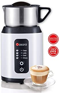 Casara Milk Frother – With Superior Induction Technology, Electric Milk Frother and Steamer with Detachable Stainless steel jug for Creating Cappuccino, Latte ,Matcha – Automatic Hot Chocolate Maker with All In One Whisk for making Bulletproof Coffee, Hot Chocolate, Irish Coffee, Eggnog, Dishwasher Safe Frother, No Harmful Coating, BPA free