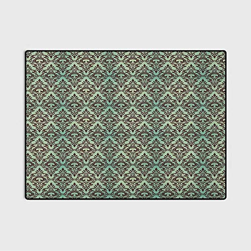 Damask Floor Rugs for Bedroom Dorm Rugs Rustic Area Rugs Mint Background with Ornamental Surreal Curved Leaves Buds Flowers Print for Kids Teens Room Comfy Cute Floor Carpets Mint Green Dark Brown